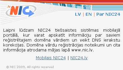 Nic.lv mobilā versija