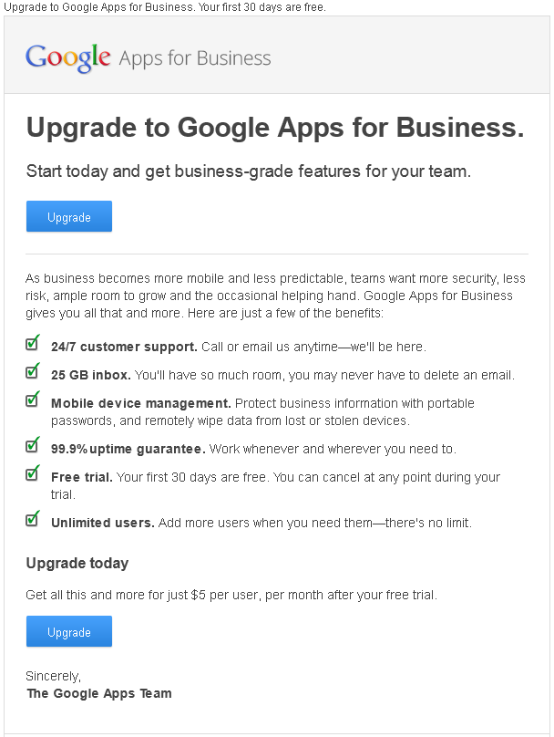 Upgrade Google Apps for business