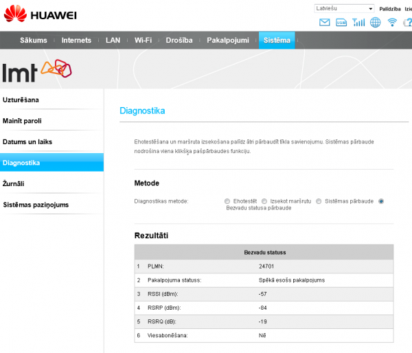 Huawei 4G diagnostika