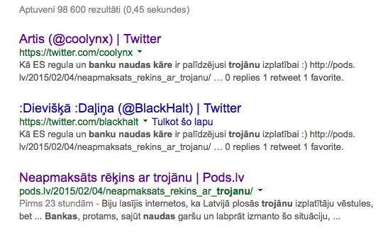 Tvīti googles rezultātos