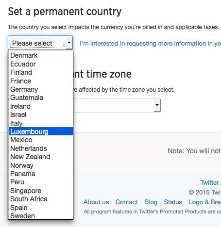 Twitter reklāmas valstis
